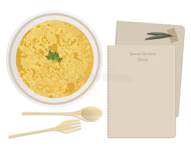 Типичный испанский язык & x27; Tortilla& x27; Испанский омлет картошки бесплатная иллюстрация