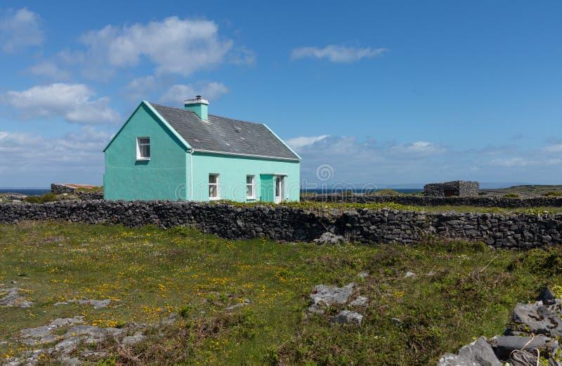 Типичный сельский коттедж Ирландия сельского хозяйства стоковое фото
