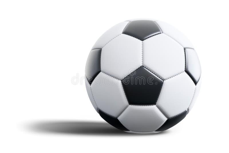 Типичный черно-белый футбольный мяч изолированный на белой предпосылке иллюстрация штока