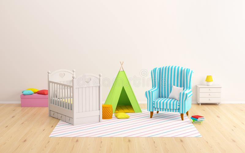 Типи и кресло комнаты младенца бесплатная иллюстрация