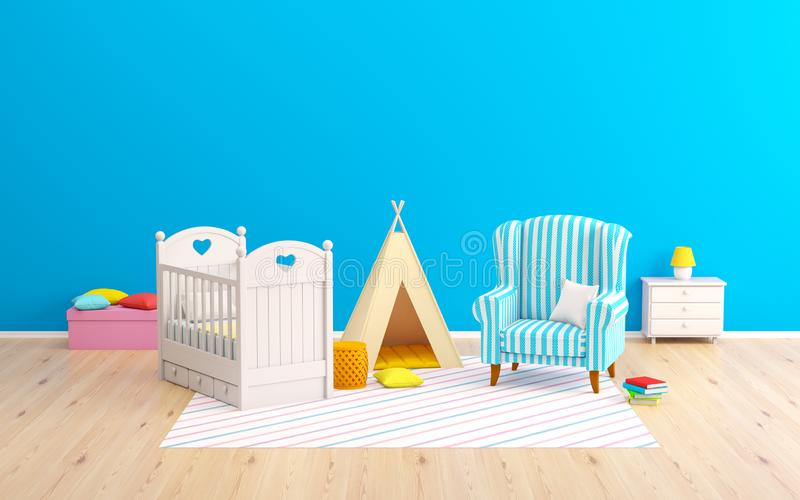 Типи и кресло комнаты младенца иллюстрация штока