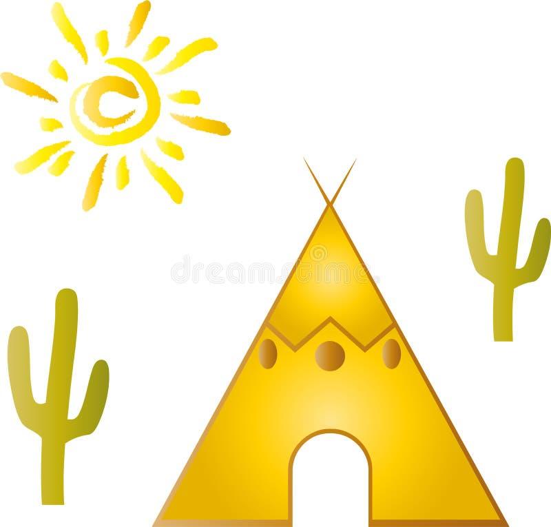 Типи, дом, солнце, шаржи иллюстрация штока