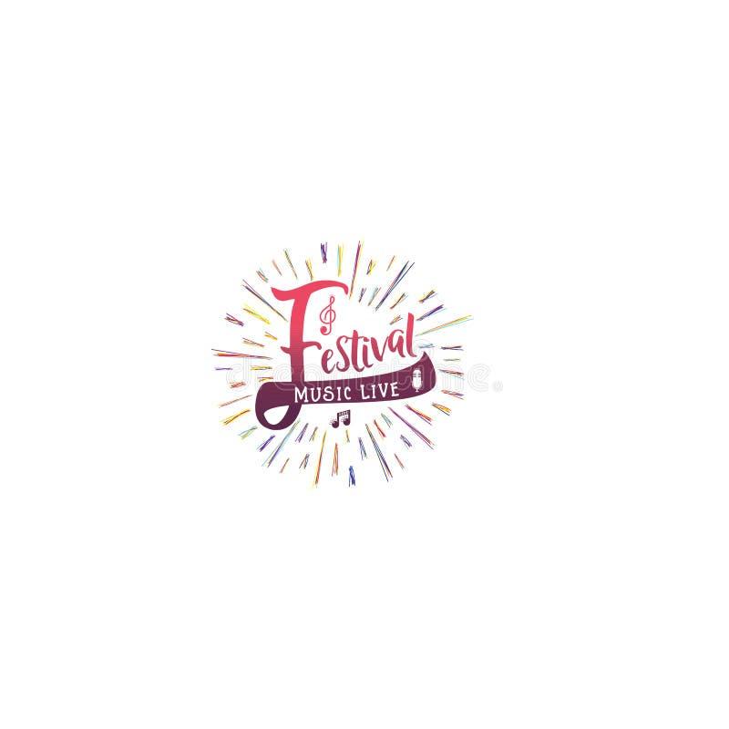 Типографские значки - музыкальный фестиваль На основании шрифтов сценария, handmade Его можно использовать для того чтобы констру иллюстрация штока
