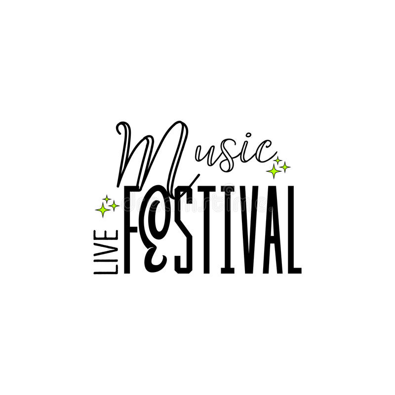 Типографские значки - музыкальный фестиваль На основании шрифтов сценария, handmade Его можно использовать для того чтобы констру бесплатная иллюстрация