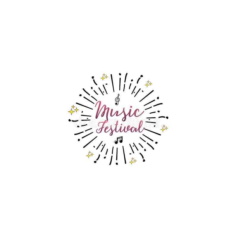 Типографские значки - музыкальный фестиваль На основании шрифтов сценария, handmade Его можно использовать для того чтобы констру иллюстрация вектора