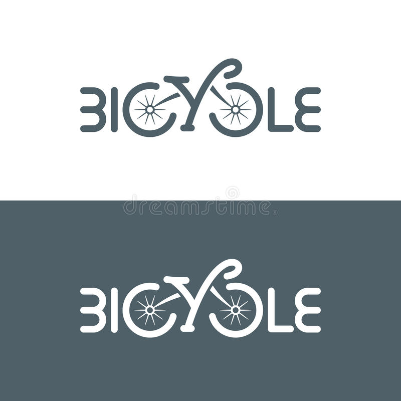 Типографский логотип велосипеда также вектор иллюстрации притяжки corel иллюстрация штока