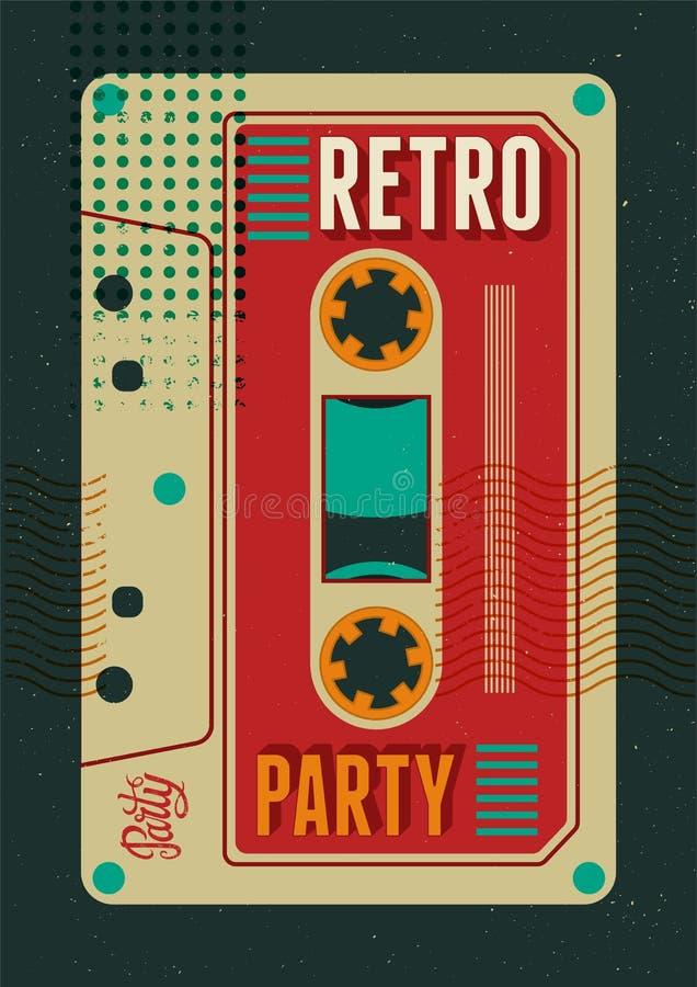 Типографский ретро дизайн плаката партии с магнитофонной кассетой Винтажная иллюстрация вектора бесплатная иллюстрация