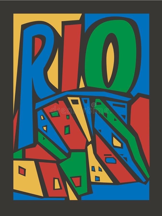 Типографской touristic нарисованный рукой город rio иллюстрация вектора