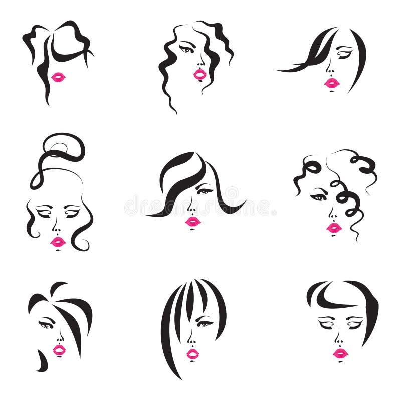 типы волос установленные стоковые фотографии rf