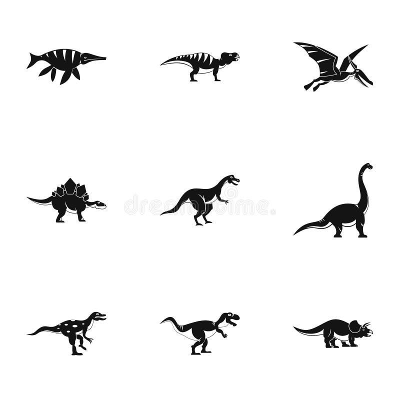 Типы значков динозавра установили, простой стиль бесплатная иллюстрация