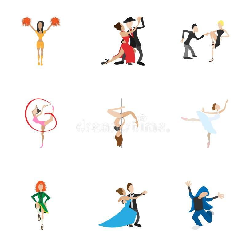 Типы значков танцев установили, стиль шаржа иллюстрация вектора