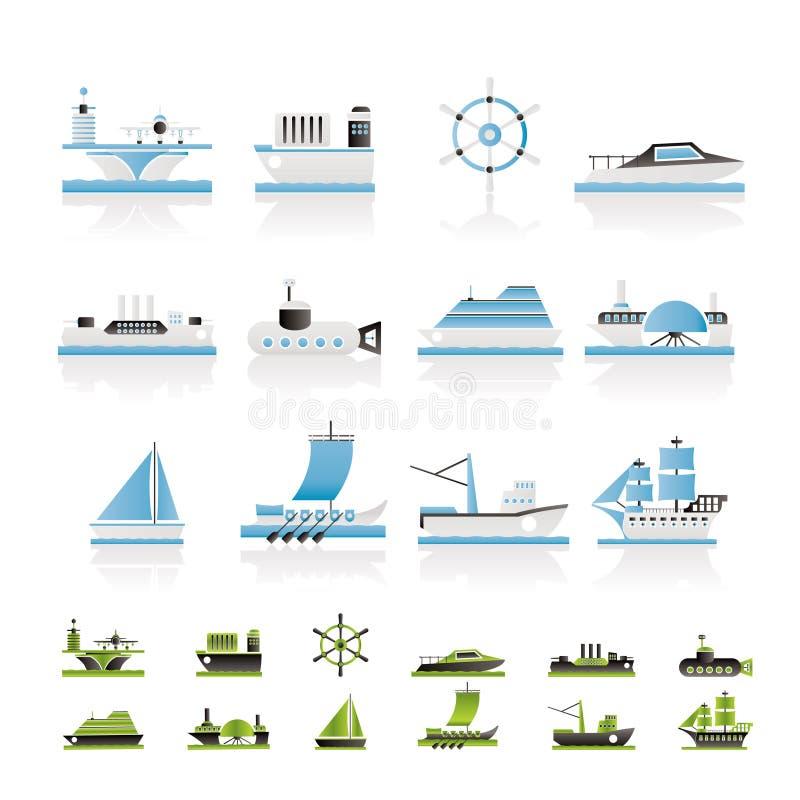 типы корабля икон шлюпки различные иллюстрация вектора