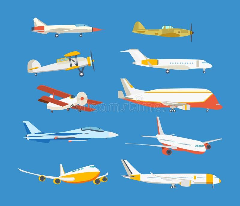 Типы самолета: пассажир, гражданский, аэробус, войска, самолет-биплан, высотное здание самолета иллюстрация вектора