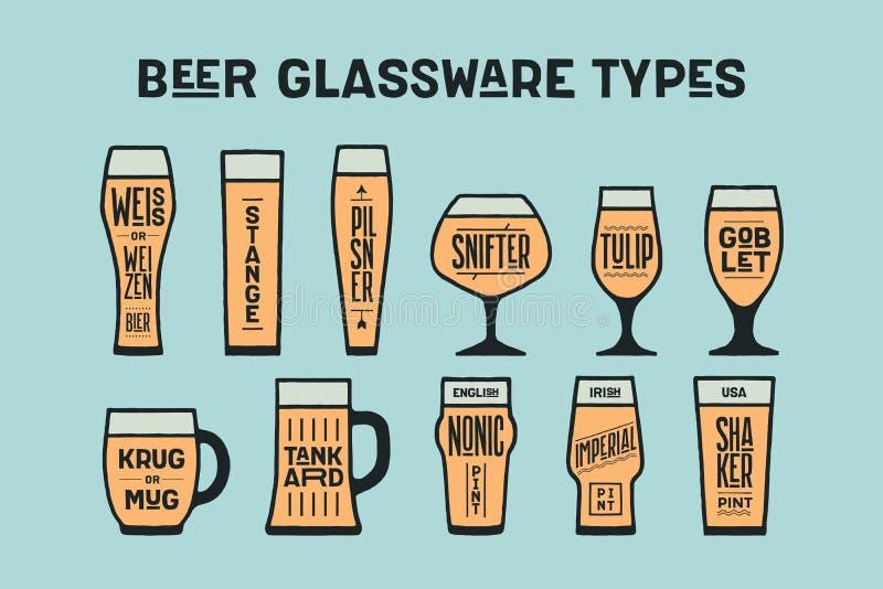 Типы стеклоизделия пива плаката иллюстрация штока