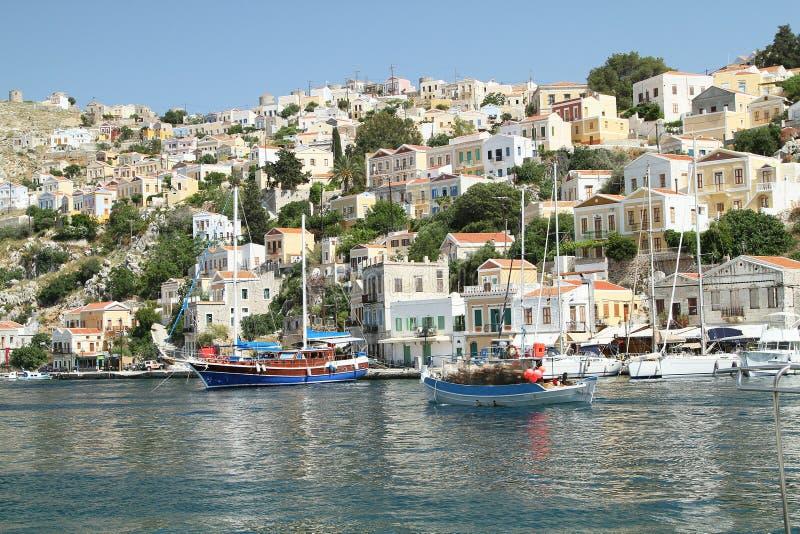 Типы столицы острова Symi 4 стоковое фото rf