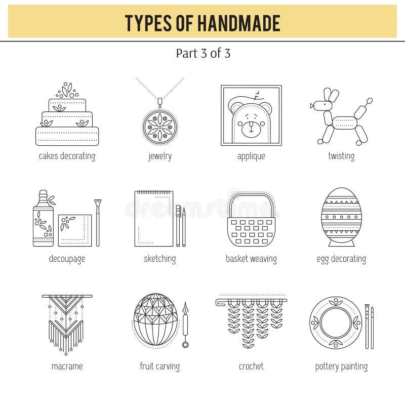Типы handmade комплекта иллюстрация штока