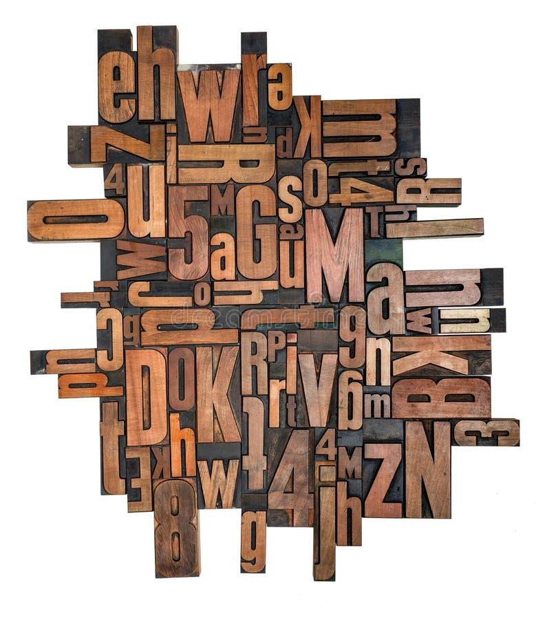 Тип блоки Letterpress деревянный печатания на белом backgro стоковая фотография