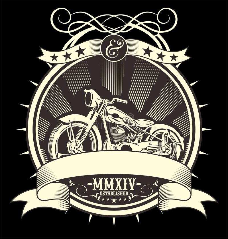 Тип заполнил винтажную иллюстрацию вектора мотоцикла, притяжку руки artrwork EPS ручную иллюстрация вектора