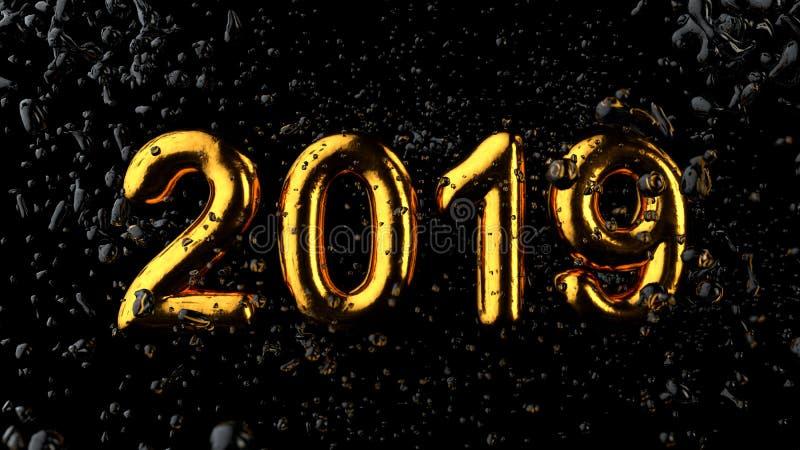 2019 тип, золото текстурировали текст с жидкостными падениями, черное Backgroun стоковые фотографии rf