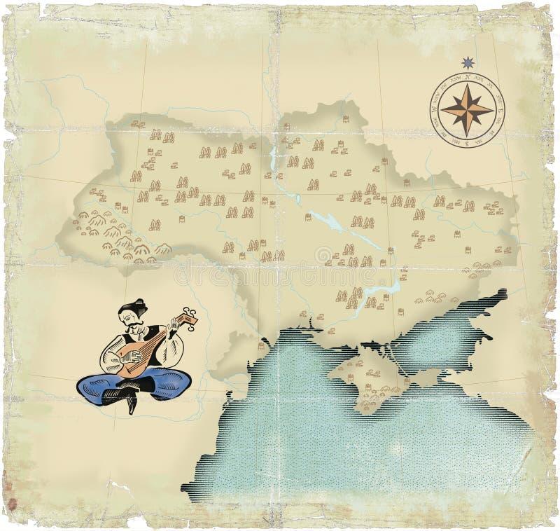 тип карты старый приурочивает Украину вниз иллюстрация вектора