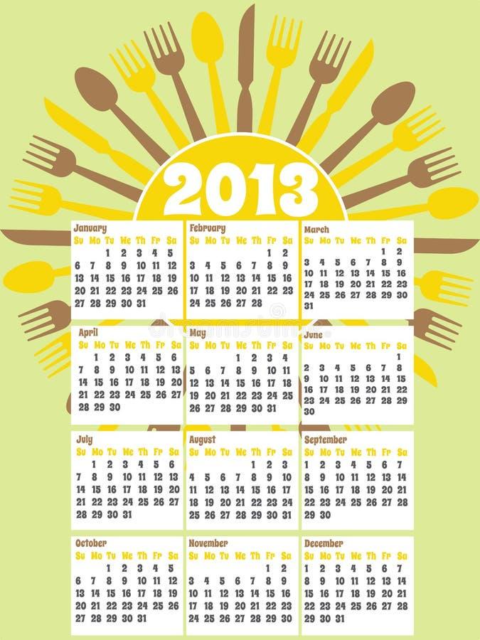 тип кухни 2013 календаров ретро бесплатная иллюстрация