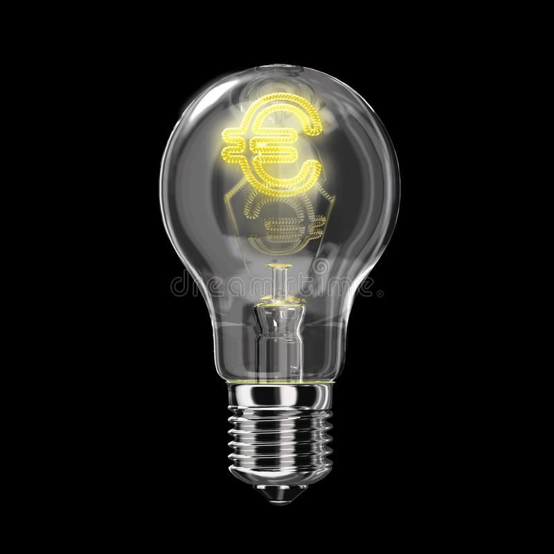 Тип классики электрической лампочки. Нить формы евро. иллюстрация штока