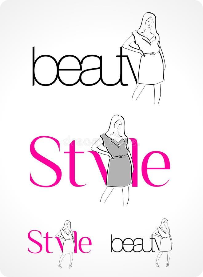 тип логоса красотки иллюстрация вектора