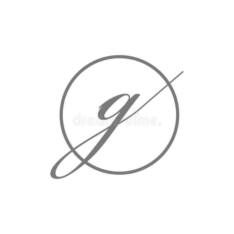 Тип логотип начального письма иллюстрации вектора простой элегантный красоты g со значком символа знака круга иллюстрация вектора