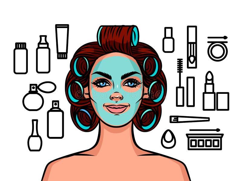 Тип молодой красивой женщины европейский с curlers на ее голове и маской на ее стороне иллюстрация вектора