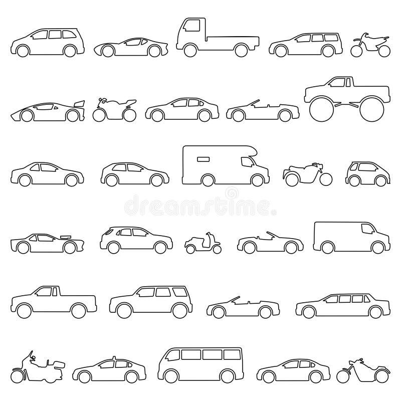 Тип набор автомобиля и мотоцикла значков Moto и автомобиль моделей названия бесплатная иллюстрация