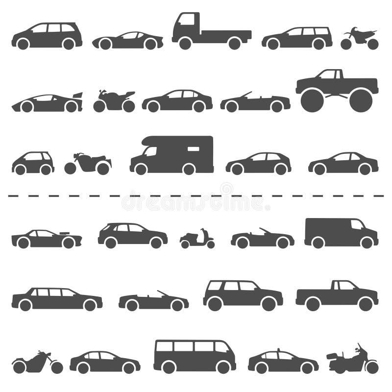 Тип набор автомобиля и мотоцикла значков Moto и автомобиль моделей названия иллюстрация штока