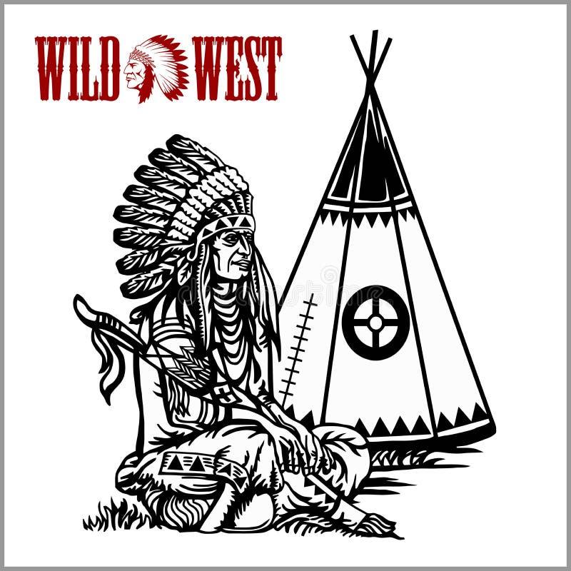 тип плаката на запад одичалый Индийский teepee шатра или вигвама и американский родной вождь иллюстрация штока