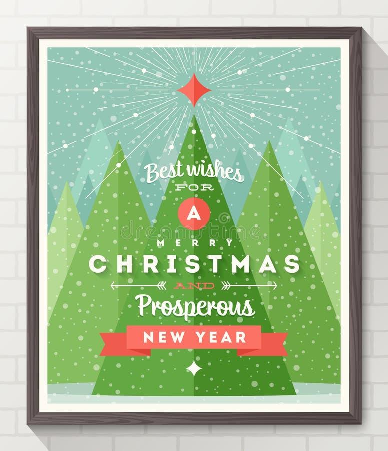 Тип плакат рождества дизайна иллюстрация вектора