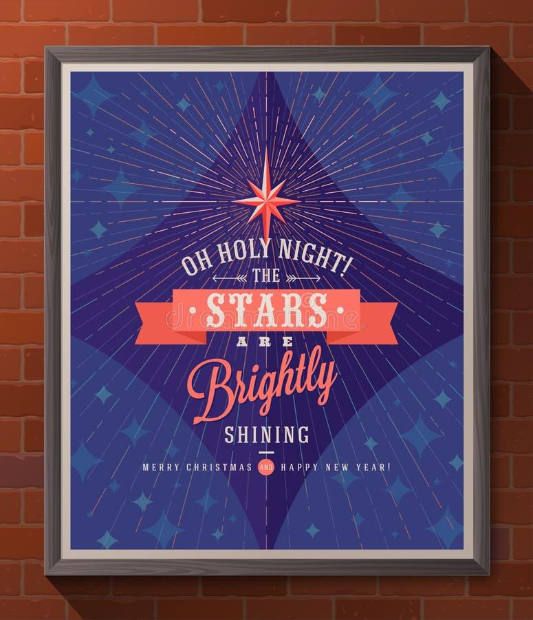 Тип плакат рождества дизайна иллюстрация штока