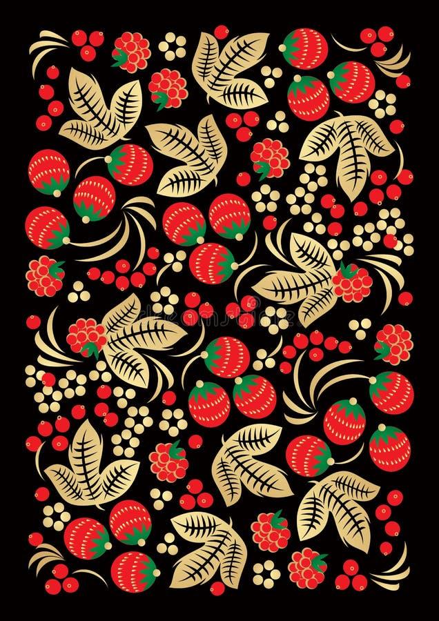 тип русского орнамента khokhloma ремесленничества иллюстрация вектора