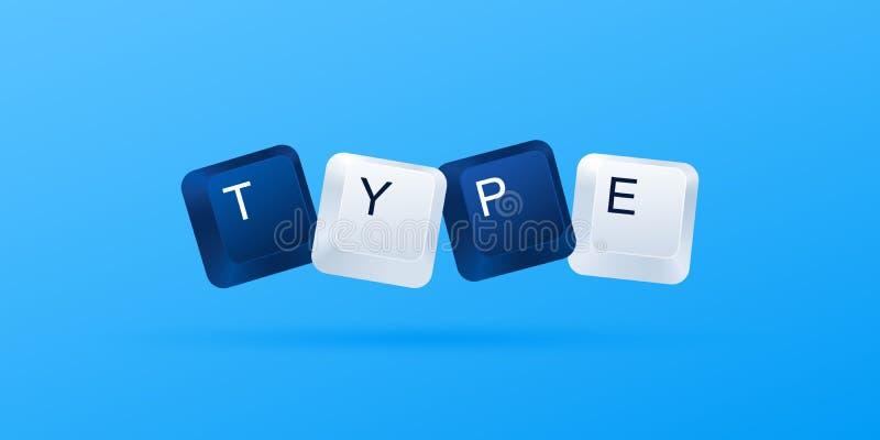 ТИП слово написанное с кнопками компьютера Клавиши на клавиатуре компьютера o иллюстрация вектора