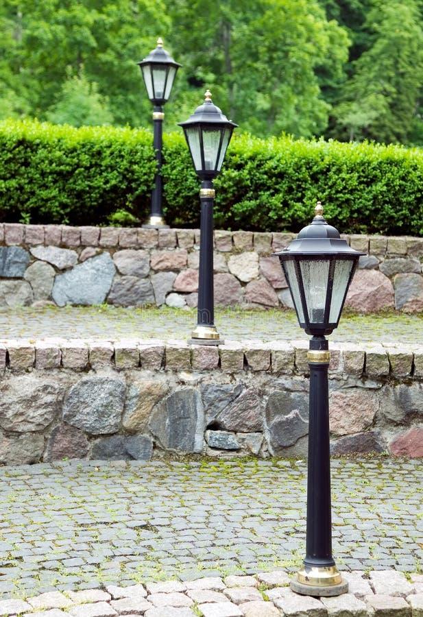 тип улицы металла освещения светильника старый стоковые изображения rf