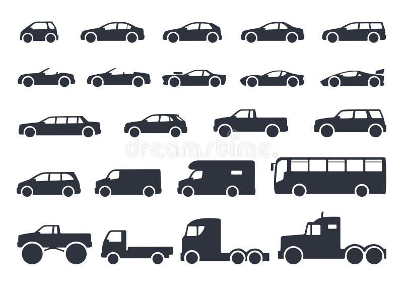 Тип установленные значки автомобиля Модельный автомобиль Иллюстрация вектора черная бесплатная иллюстрация