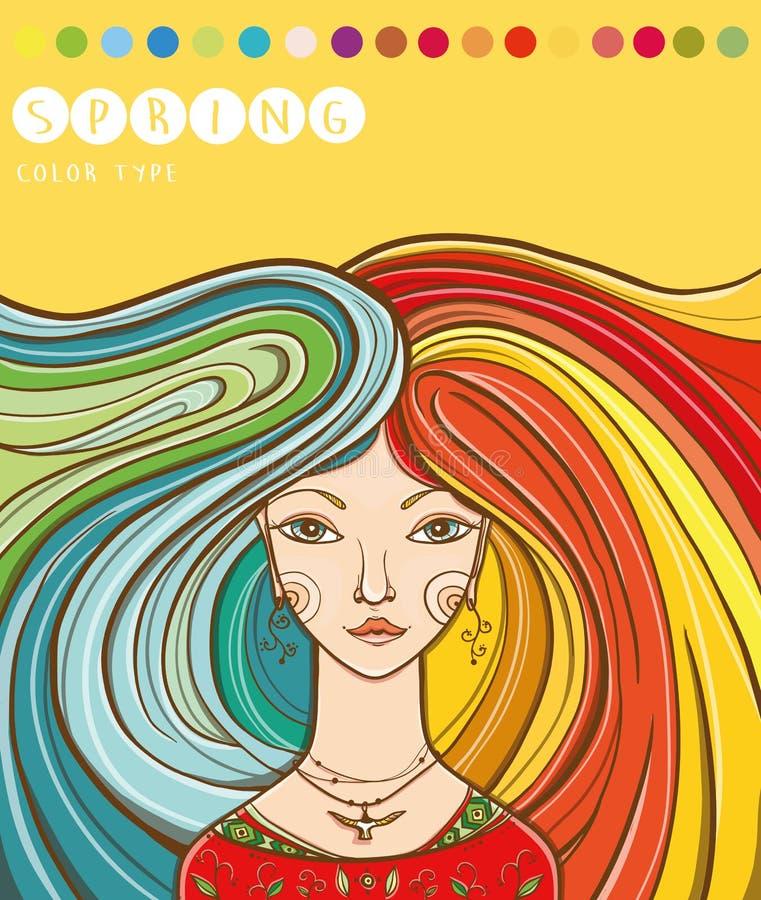 Тип цвета девушки - весны вектор весны иллюстрации девушки 10 eps Цвета для типа весн бесплатная иллюстрация