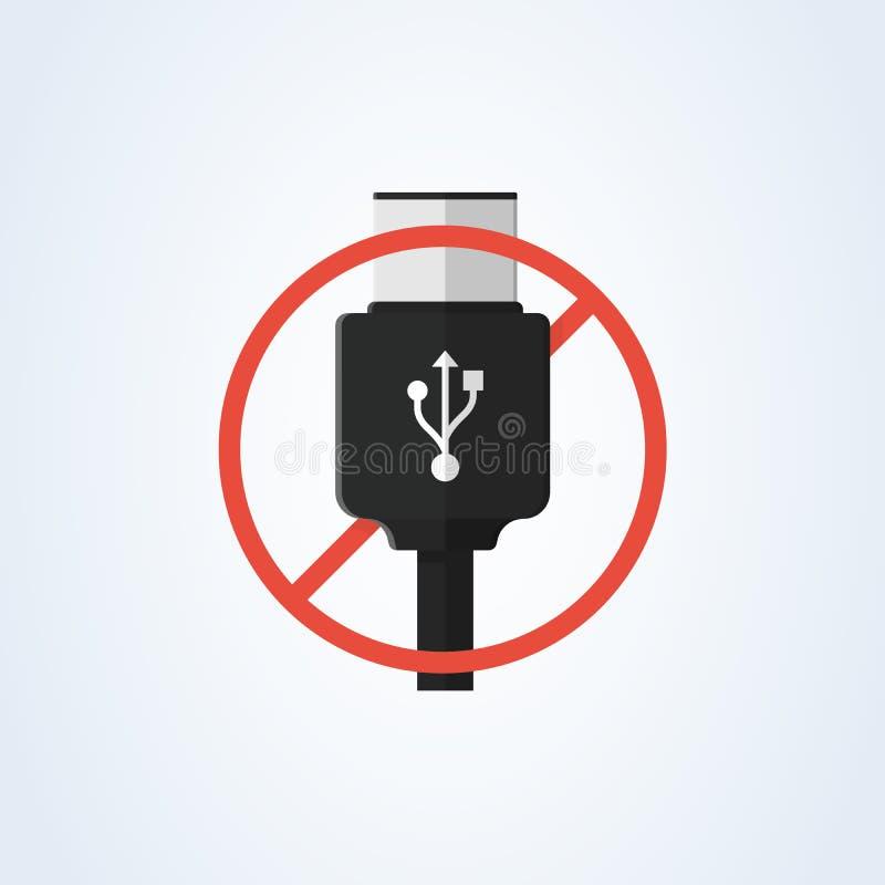 Тип-c usb вектора и usb-c плоско всеобщий переходник кабеля usb удаления предупреждая информация иллюстрация вектора