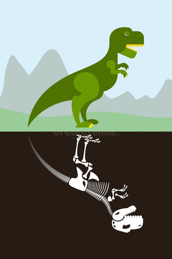 Тиранозавр в природе Скелет в земной почве иллюстрация штока