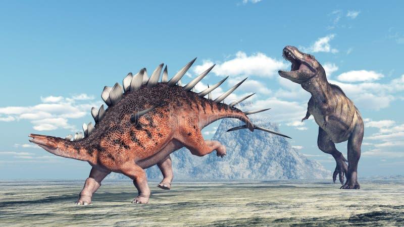 Тиранозавр Rex атакует Kentrosaurus иллюстрация штока