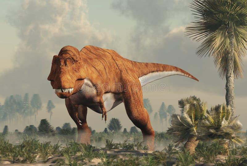 Тиранозавр Rex в заболоченном месте иллюстрация штока