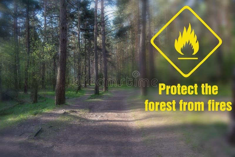Титр: защитите лес от огня И знак опасности огня стоковое фото rf