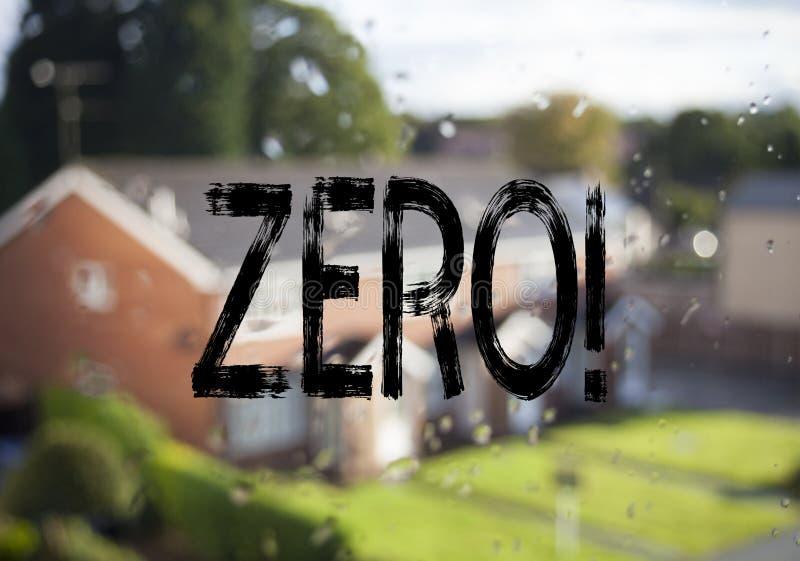 Титр текста объявления показывая нул Концепция дела для zero допуска Nought нулей написанного на старой предпосылке кирпича с экз стоковое фото rf