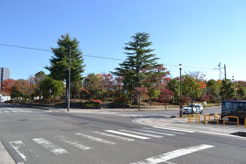 Тихие перекрестки в городе Koriyama стоковые изображения