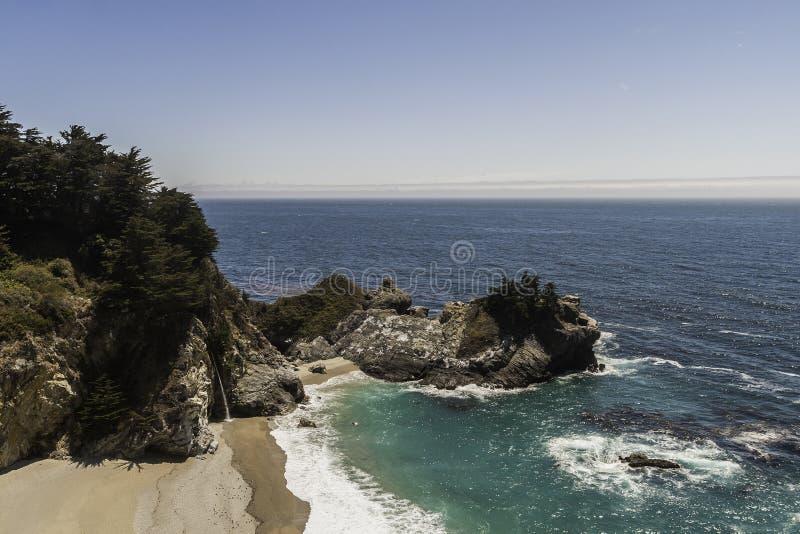 Тихий океан пляж песка вдоль калифорнийского побережья стоковое изображение