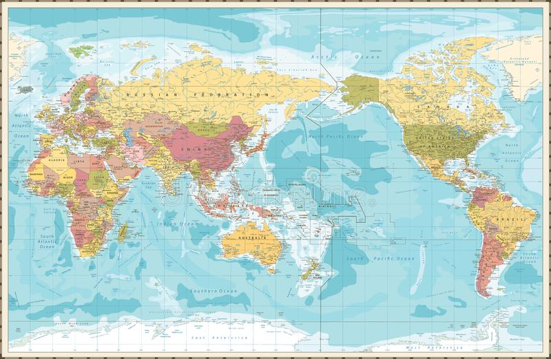 Тихий Океан цвета карты мира винтажный центризовал иллюстрация штока