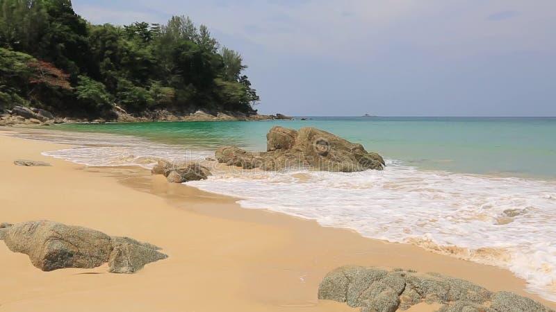 Тихий тропический прибой пляжа акции видеоматериалы
