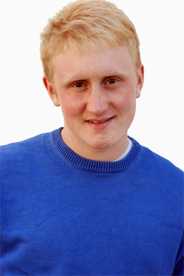 18-ти летние светлые волосы портрета человека изолированные на wh стоковое изображение